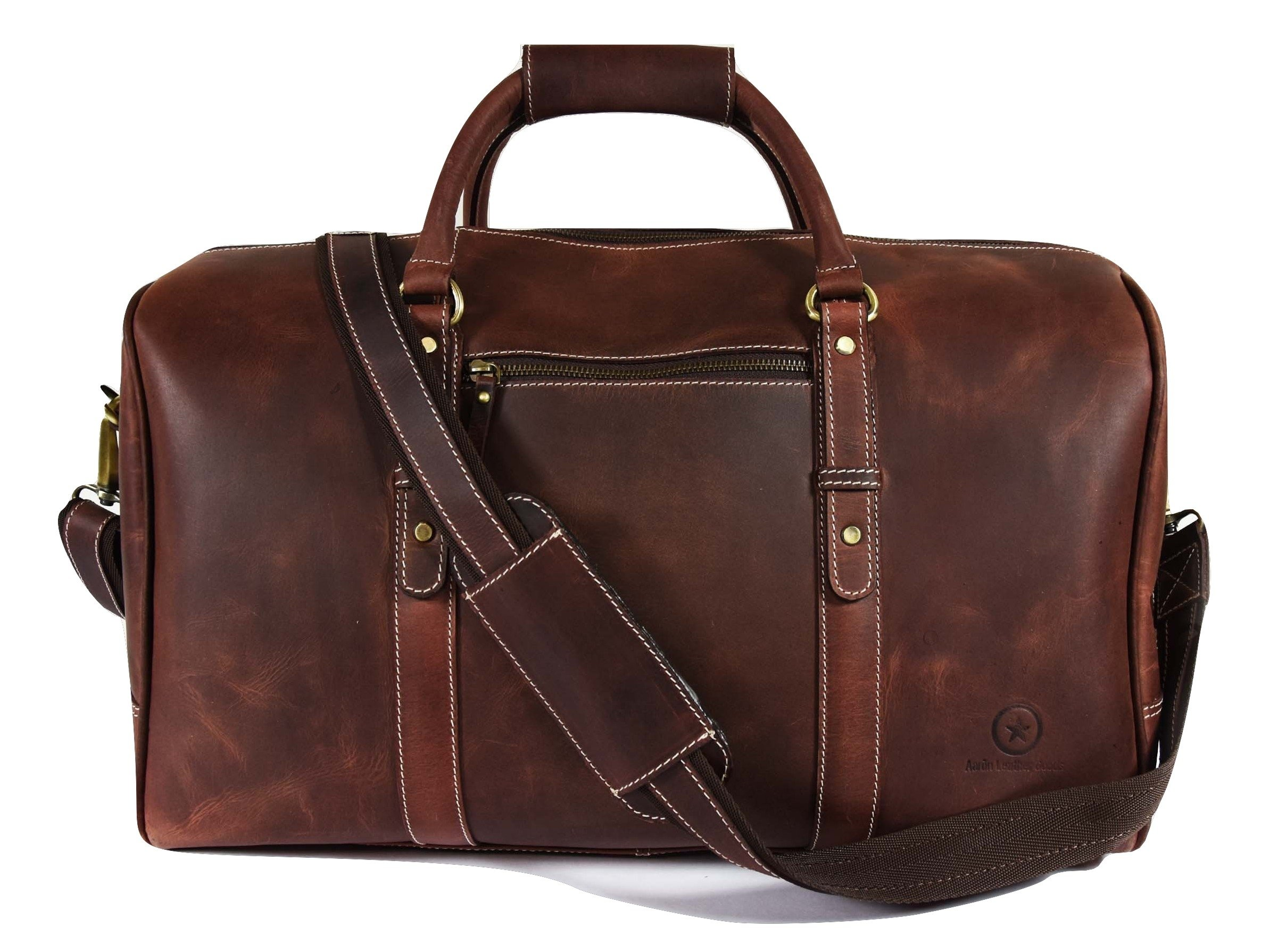 20 Inch Leather Travel Duffle Bag ,Gym Overnight Weekend Bag,By Aaron Leather (Dark Brown)