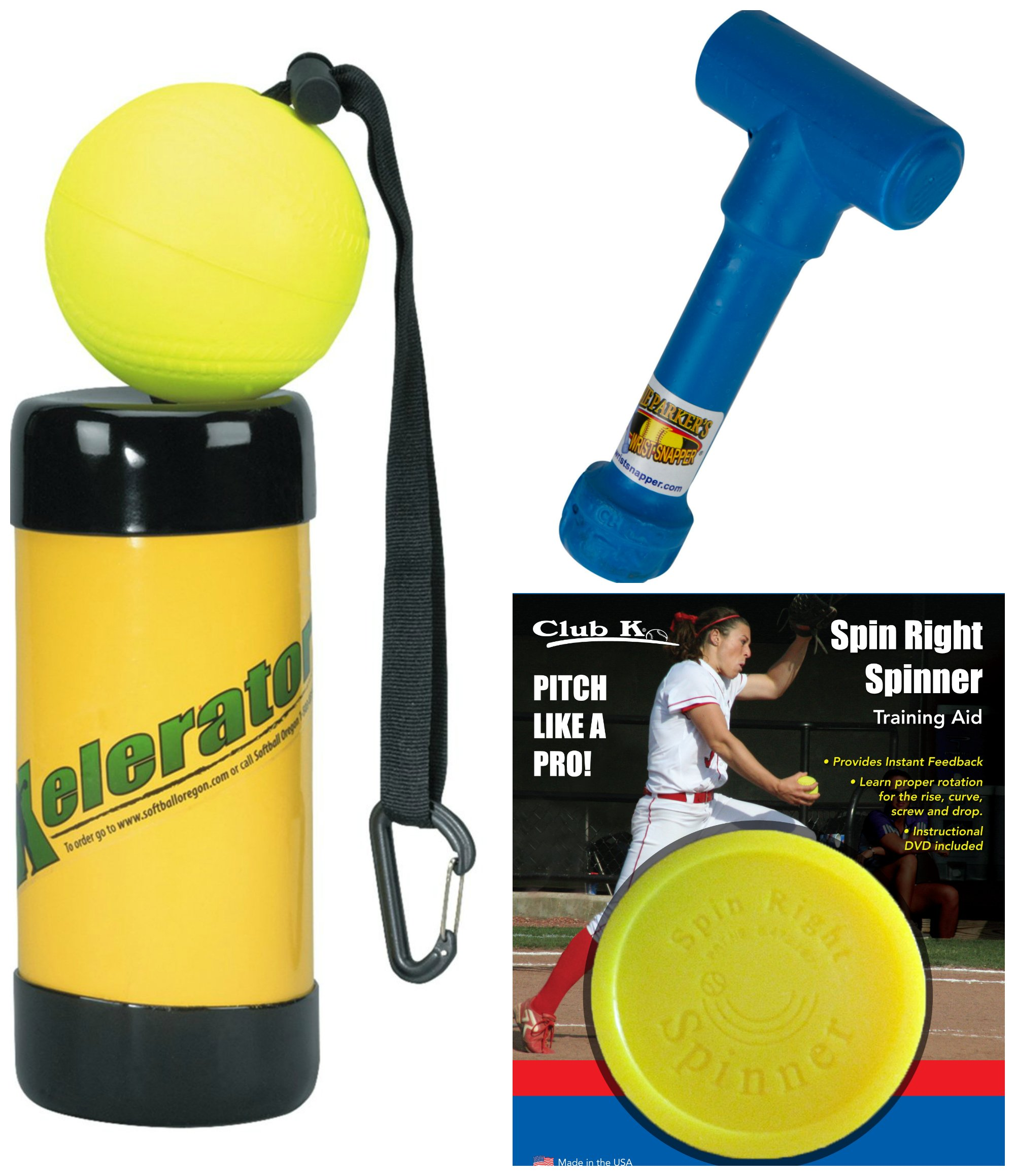 SPIN RIGHT SPINNER + Ernie Parker's WRIST SNAPPER + XELERATOR Fastpitch Softball Pitching Training Aids Equipment Gear