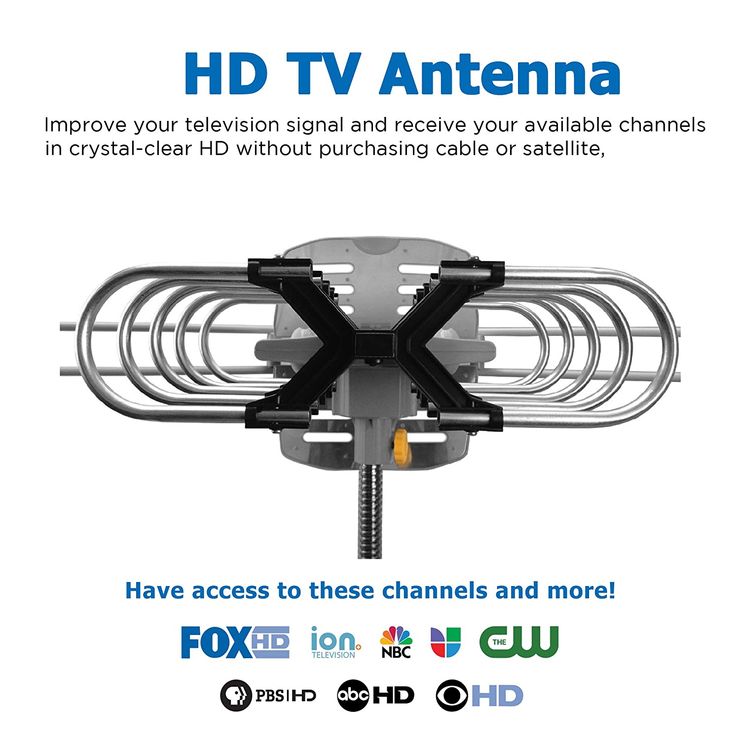 Vansky Outdoor 150 Mile Motorized 360 Degree Rotation Crystal Focus Wiring Diagrams Ota Amplified Hd Tv Antenna For 2 Tvs Support Uhf Vhf 1080p Channels Wireless Remote