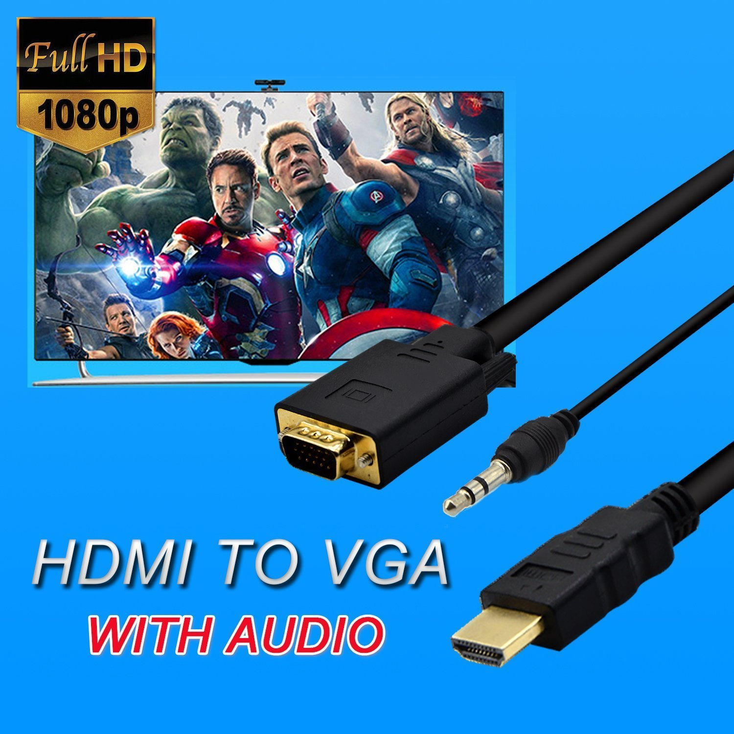 One-Way Signal Conversion from HDMI Equipped PC eBerry 1080P Full HD HDMI to VGA Cable HDMI Male to VGA Male Converter Adapter 3m//10ft Laptop to VGA Equipped Monitor TV Projector