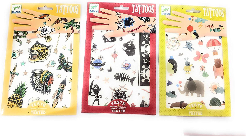 piratas e indios Djeco Juego de 3 fundas para tatuajes 50 tatoos por bolsa dise/ño de animales