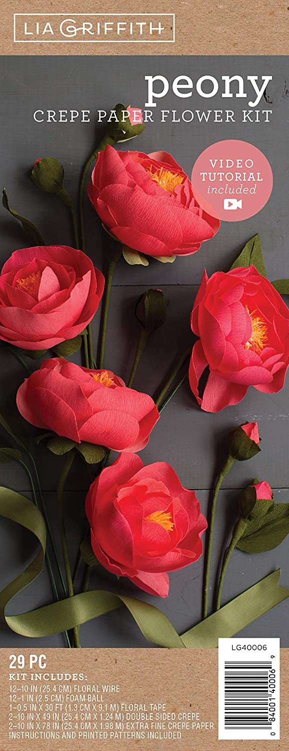 Lia Griffith Crepe Paper Flower Kit, Peony Flowers, Assorted Sizes, Assorted Colors, 29 Pieces