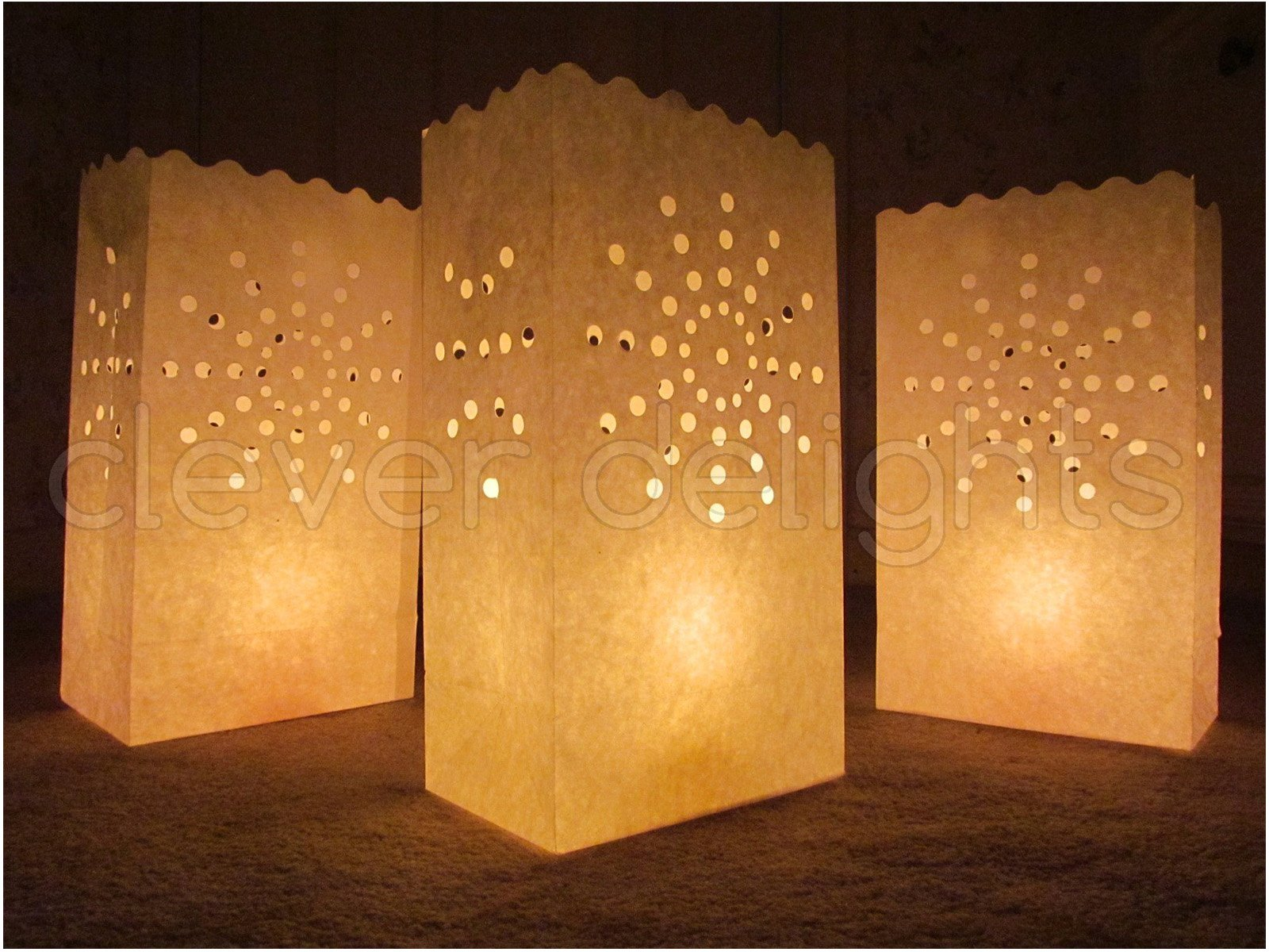 CleverDelights White Luminary Bags - 100 Count - Sunburst Design - Wedding, Reception, Party and Event Decor - Flame Resistant Paper - Luminaria