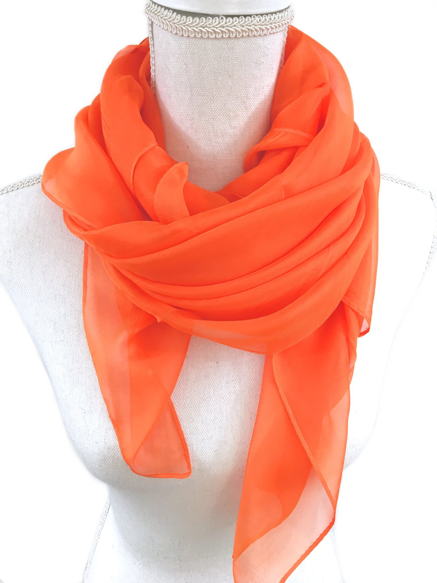 Solid Color Womens Chiffon Scarf, Shawl, Wrap. Beautiful and Simple Silk Feeling Fashion Accessories. (Orange)