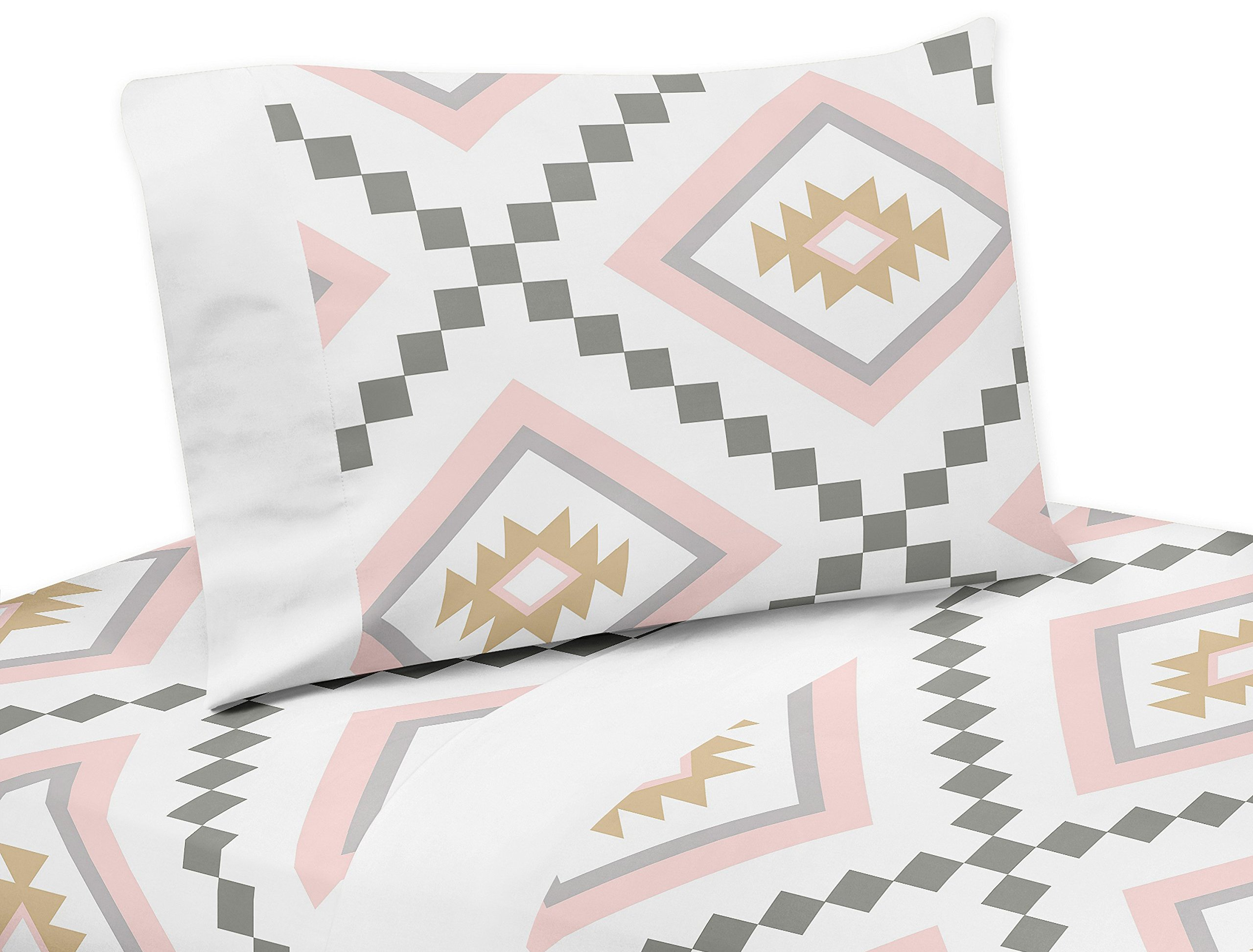 Sweet JoJo Designs 4-Piece Blush Pink and Grey Boho Queen Sheet Set for Aztec Collection Set