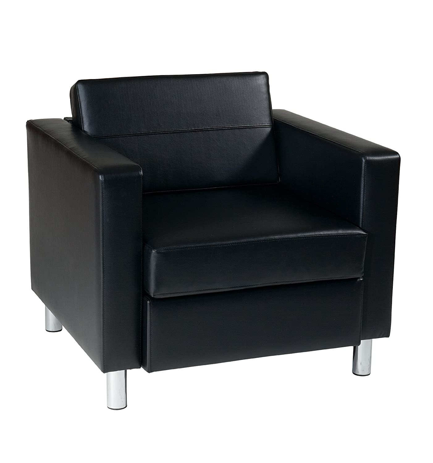 OSP Home Furnishings AVE SIX Pacific Vinyl Arm Chair with Spring Seats and Silver Metal Legs, Black