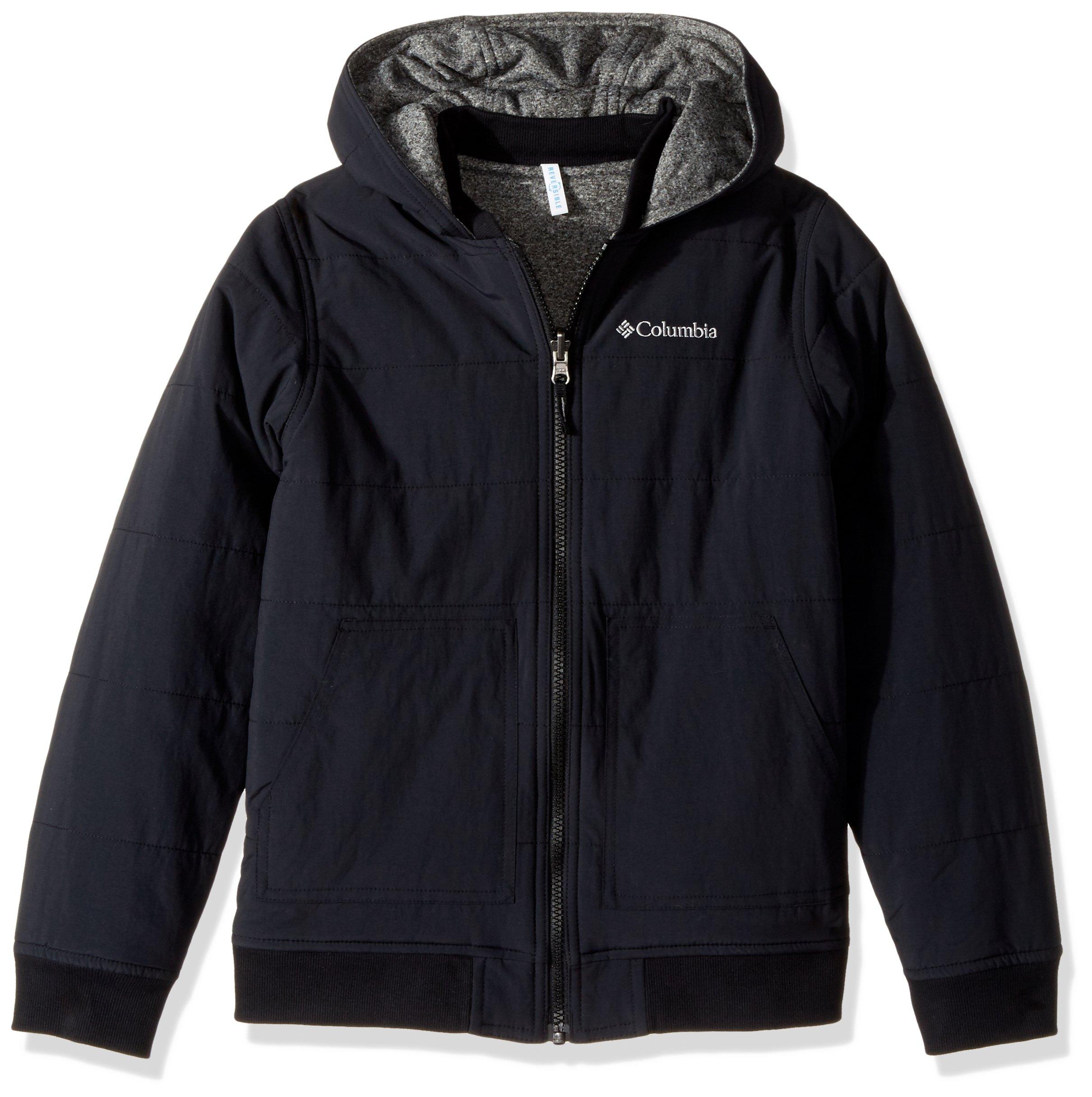 Columbia Boys' Big Evergreen Ridge Reversible Jacket, Black/Black Heather, Medium