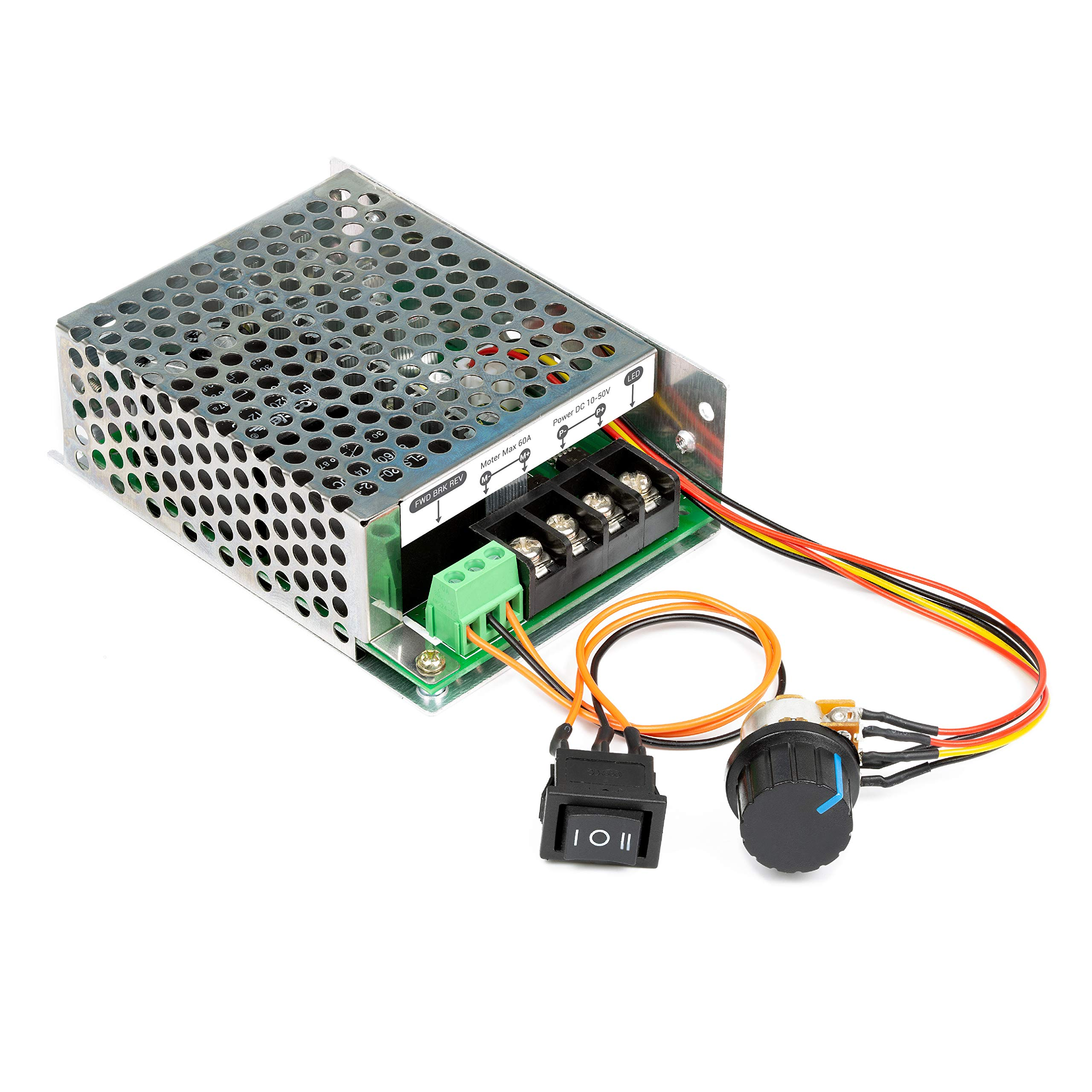 UCTRONICS Stepless DC Motor Controller, DC 10-50V 60A, Motor Speed Controller with Adjustable Potentiometer, Forward-Brake-Reverse Switch and LED Indicator for DC Brush Motor,DC Lamps/LED