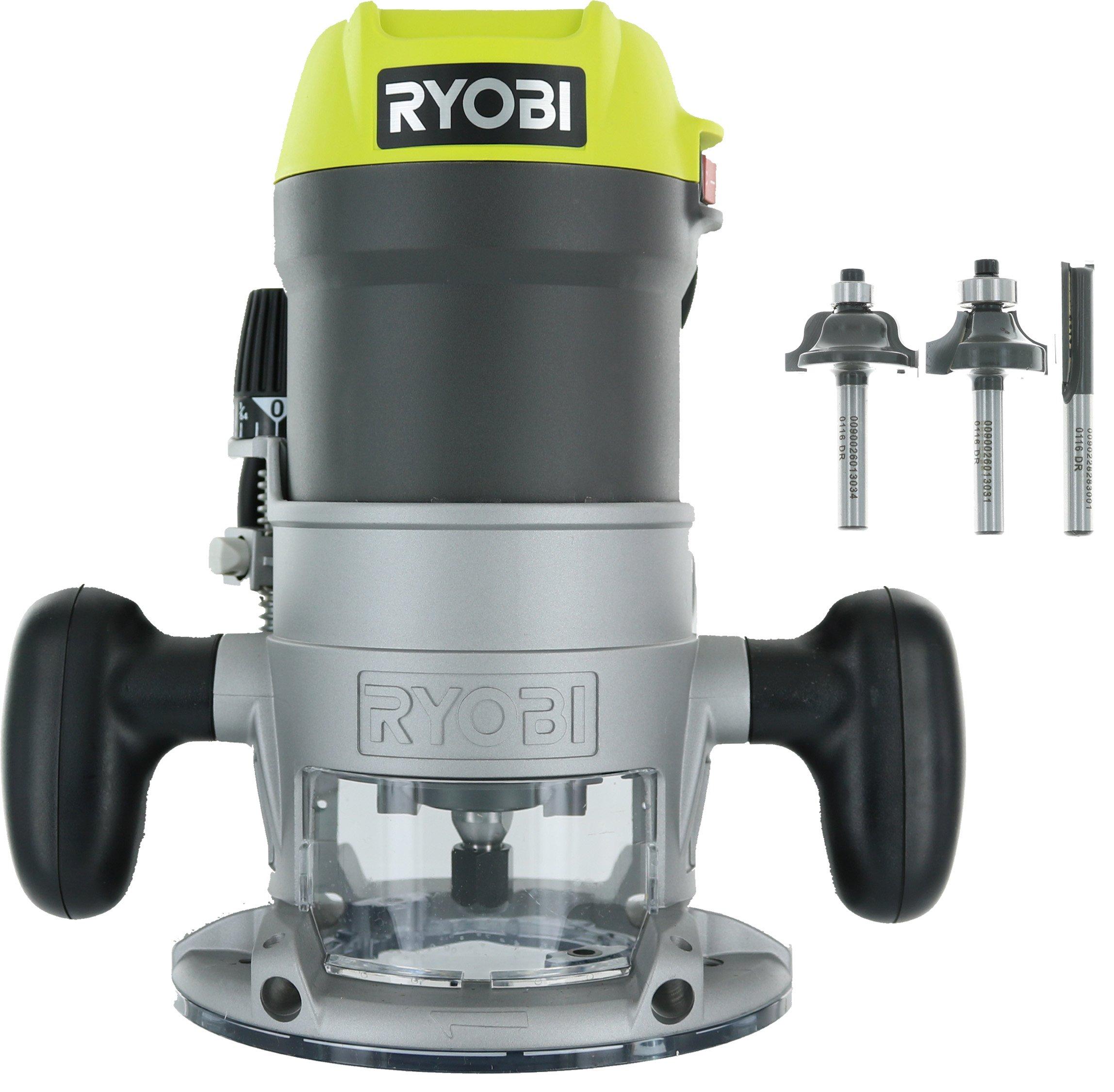 Ryobi R1631K 1-1/2 Peak HP 8.5 Amp LED Lit Corded Router Including 3 Piece Bit Set (w/ Tool Bag)