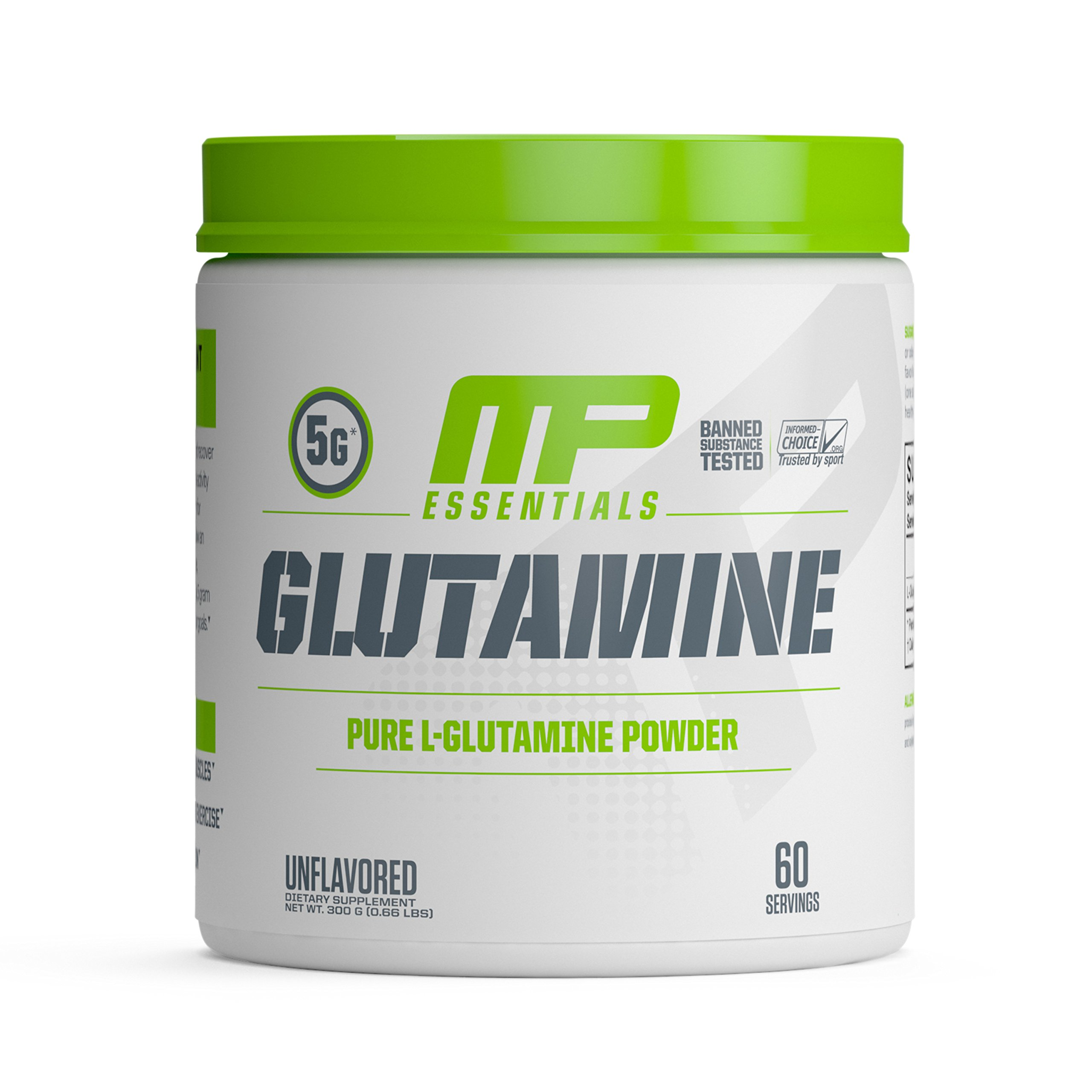 MP Essentials 100% Pure Glutamine Powder, Muscle Growth and Recovery, MusclePharm, 300g, 60 Servings