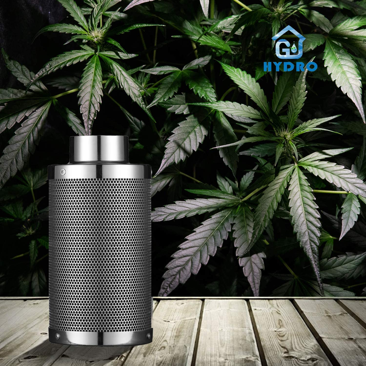 Silver G-HYDRO 6 Inch Air Carbon Filter with Australia Virgin Activated Charcoal Prefilter Included Odor Control Scrubber for Grow Tent Indoor Plants Inline Fan Reversible Flange 6 x 18 Inch 425 CFM