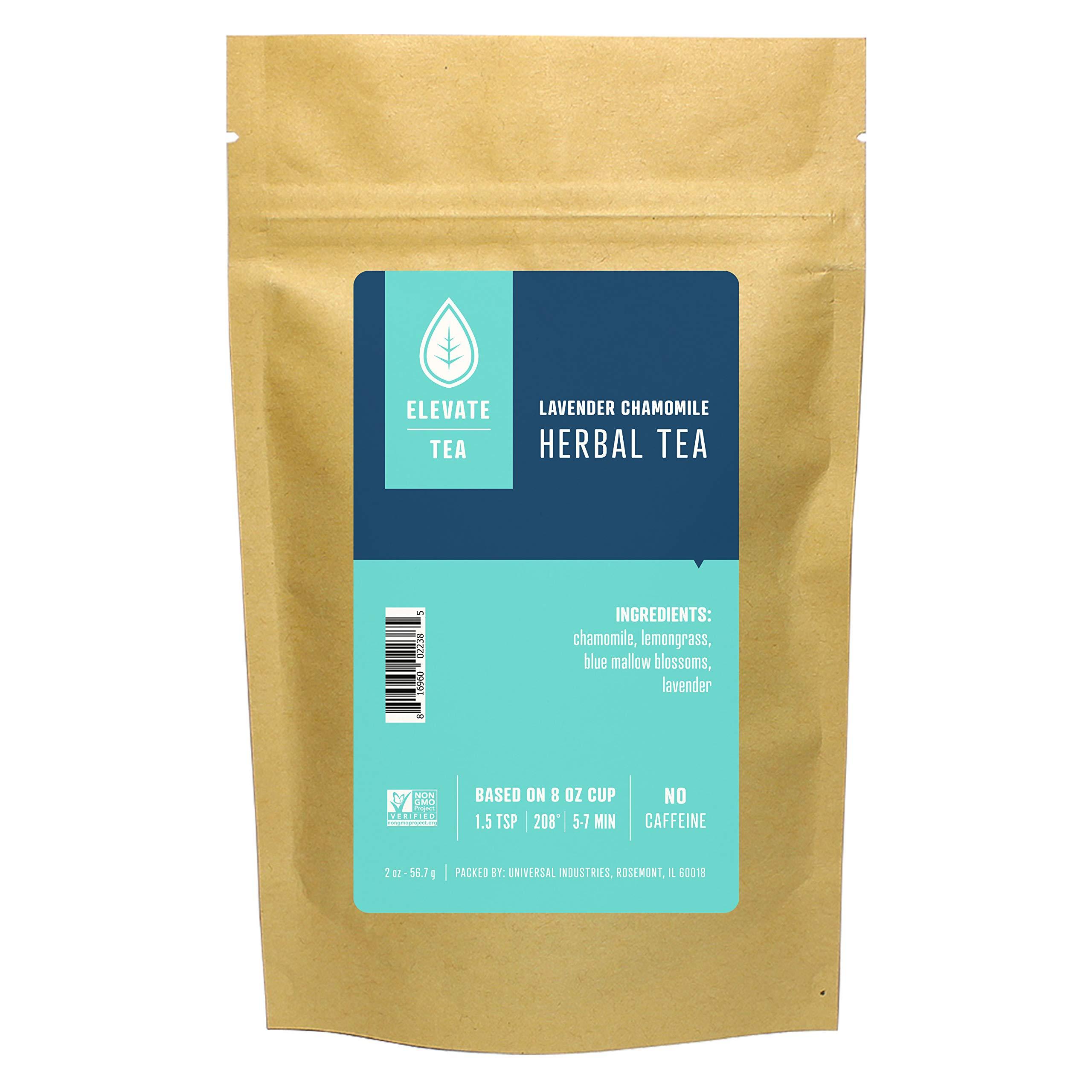 Elevate Tea LAVENDER CHAMOMILE HERBAL TEA, Loose Leaf Tea Blend, 25 servings, 2 Ounce Pouch, Caffeine Level: None