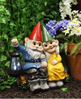 and Mrs.GNOME  WITH SOLAR LIGHT STATUE SOLAR GNOME BLUE BIRD FIGURINE Mr