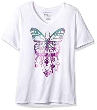8ac4f6b6f74 Just My Size Women s Size Plus Printed Short-Sleeve V-Neck T-Shirt at  Amazon Women s Clothing store
