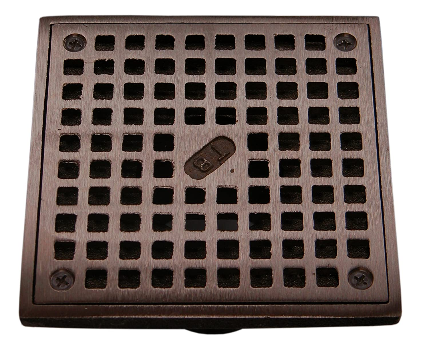 """5"""" X 5"""" ADJUSTABLE OIL RUBBED BRONZE DRAIN GRATE WITH 2"""" INSIDE DIAMETER THREADED THROAT on sale"""