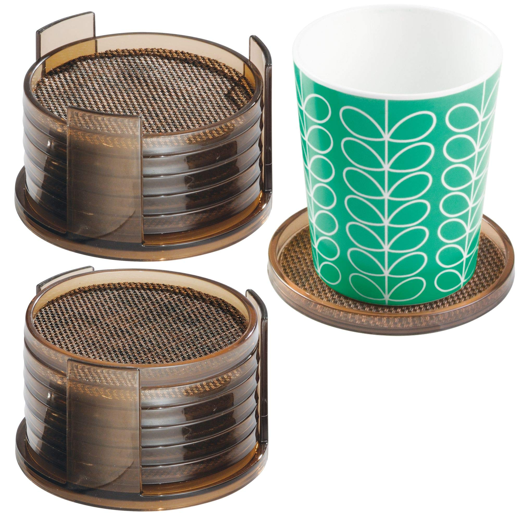 mDesign Decorative Drink Coasters with Holders - Protect Tabletops and Furniture from Water Marks and Damage - Woven Texture - Set of 2 Holders and 12 Coasters, Bronze/Sand