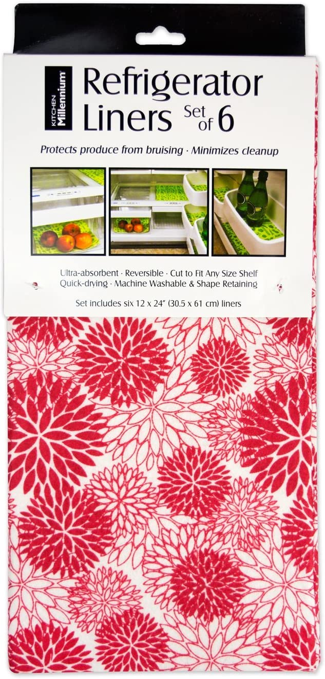 "DII Non Adhesive Cut to Fit Machine Washable Fridge Liner For Drawers, Bins, Trays, Protect Produce, Set of 6, 12 x 24"" - Tango Red Dahlia"