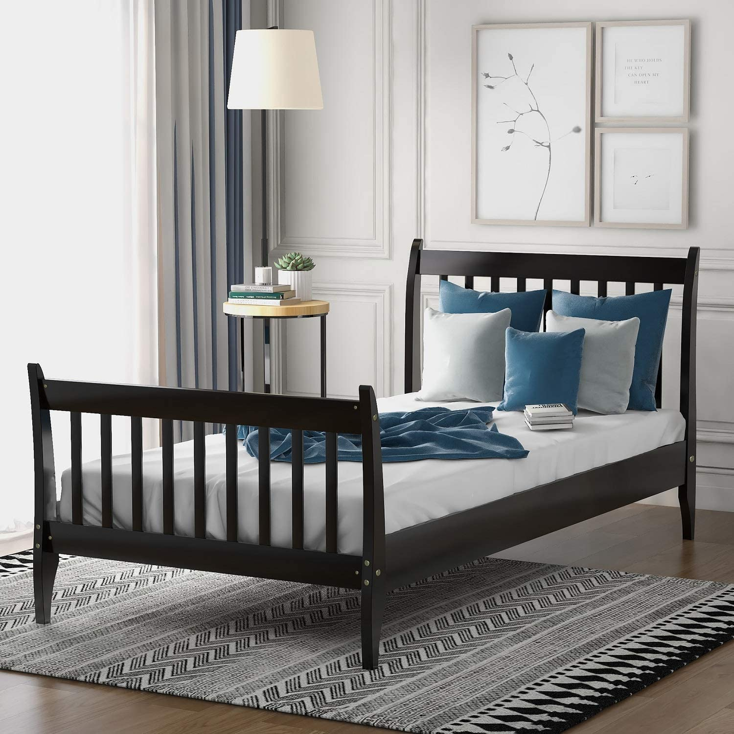 Danxee Wood Twin Bed Frame With Headboard And Footboard Platform Bed Frame Mattress Foundation With Wood Slat Support For Kids Teens Twin Espresso Furniture Decor
