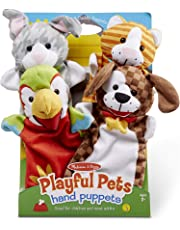 Melissa & Doug Playful Pets Hand Puppets, Puppet Sets (Rabbit, Parrot, Kitten, and Puppy, Soft Plush Material, Set of 4)