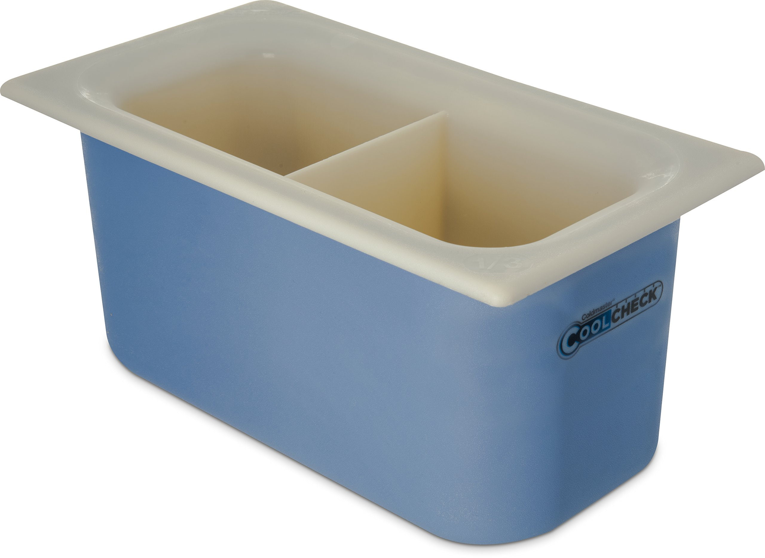 Carlisle CM1103C1402 Coldmaster CoolCheck 6'' Deep Third-Size Divided Insulated Cold Food Pan, 3.4 Quart, Color Changing, White/Blue