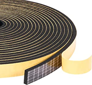 """Foam Weather Stripping Seal Tape 1/2"""" W X 1/8"""" T for Doors and Windows Gasket Insulation Soundproofing, 50 Ft Length (3 Rolls of 16.5 Ft Each)"""
