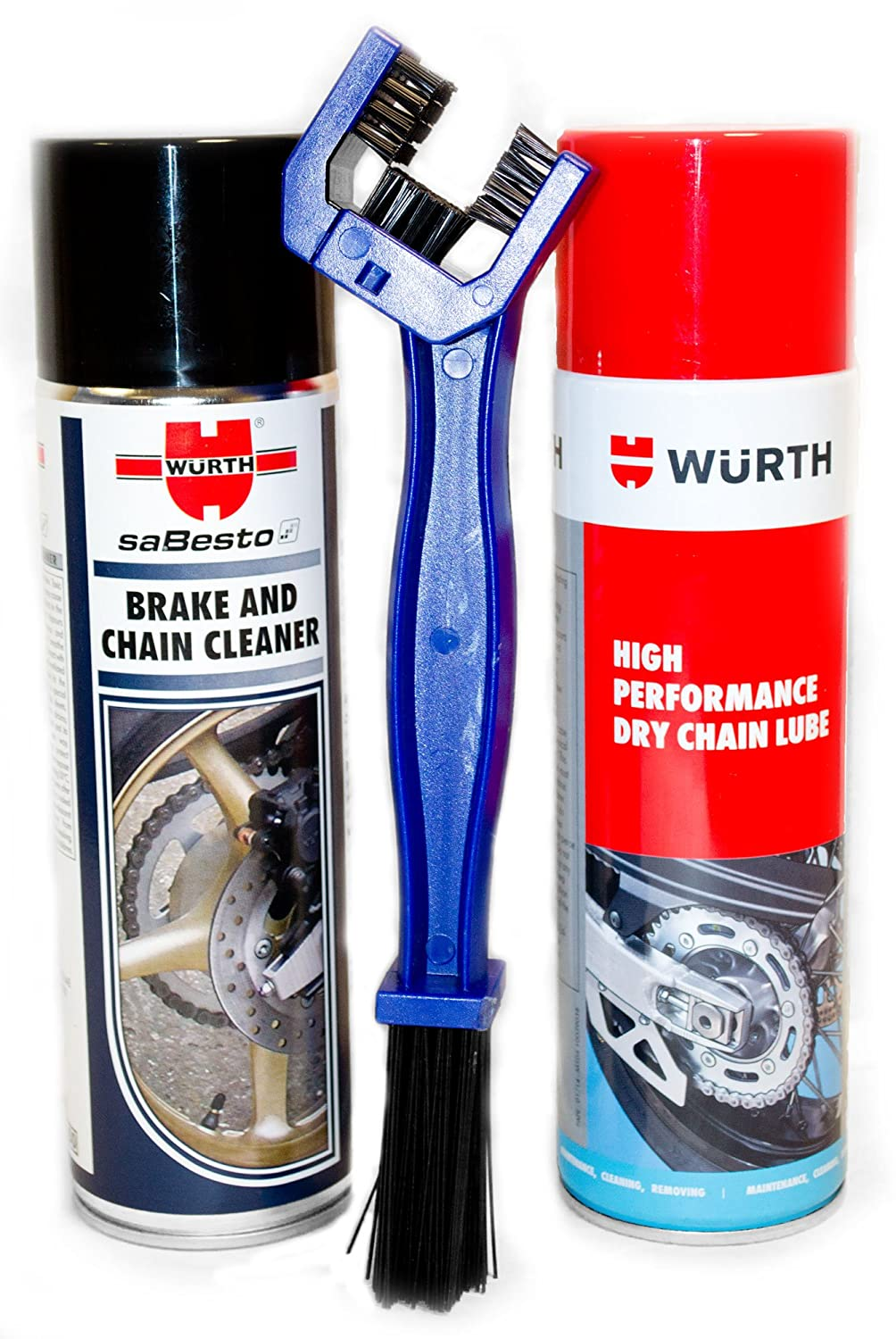 Wurth Brake and Chain Cleaner & Dry Chain Lube with Chain Brush - Combo Pack