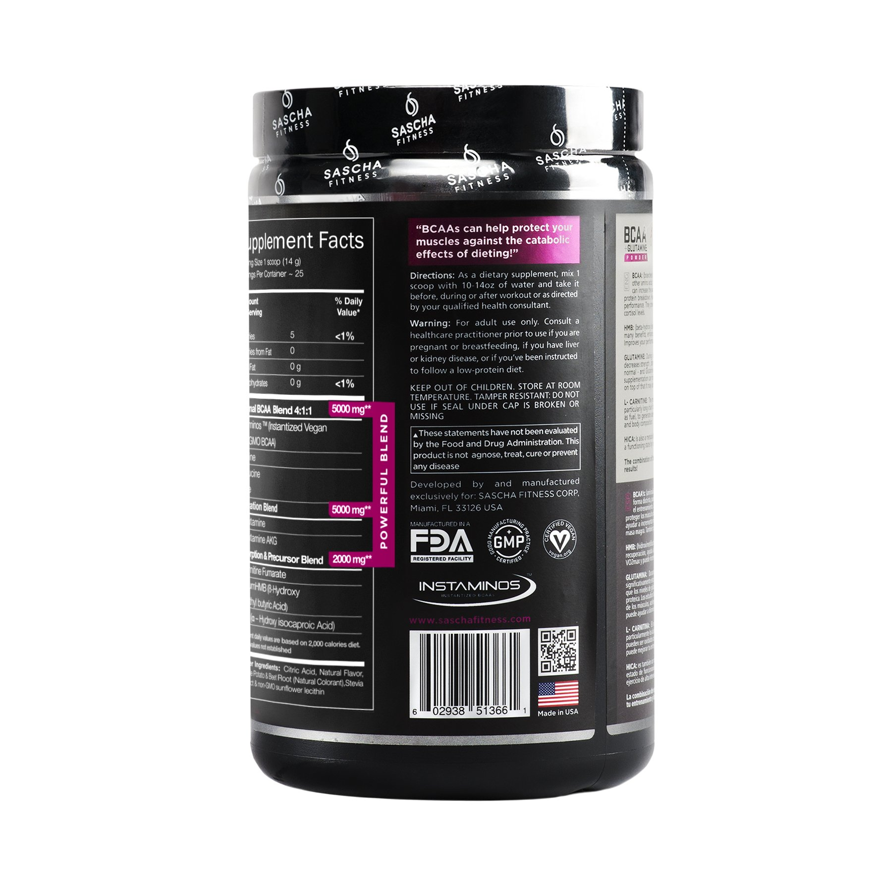 Sascha Fitness BCAA 4:1:1 + Glutamine, HMB, L-Carnitine, HICA | Powerful and Instant Powder Blend with Branched Chain Amino Acids (BCAAs) for Pre, Intra and Post-Workout | Natural Grape Flavor, 350g by SASCHA FITNESS (Image #7)