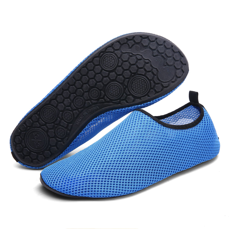 Sintiz Mesh Water Sports Shoes Barefoot Quick-Dry Aqua Socks for Swim Beach Pool Surf Yoga for Women Men Blue XXXXL(M:12-13)