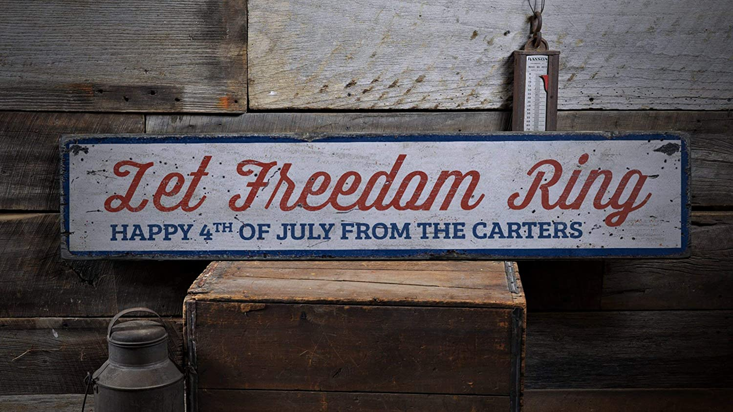 Owen Cocker Let Freedom Ring Wood Sign American Phrase Sign Custom July 4th Sign 4th of July Party Decor Rustic Wood Sign WS2135