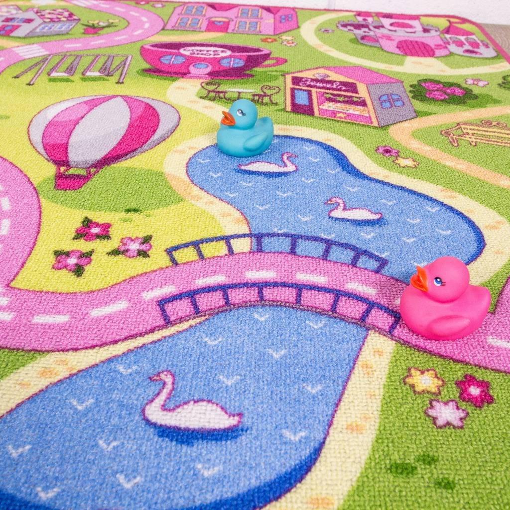 Funfair Pink Colourful Kids Town City Roads Childrens Floor Play Area Rug Mat 31 x 44 95cm x 133cm Funfair 95x133 2389 The Rug House Kids
