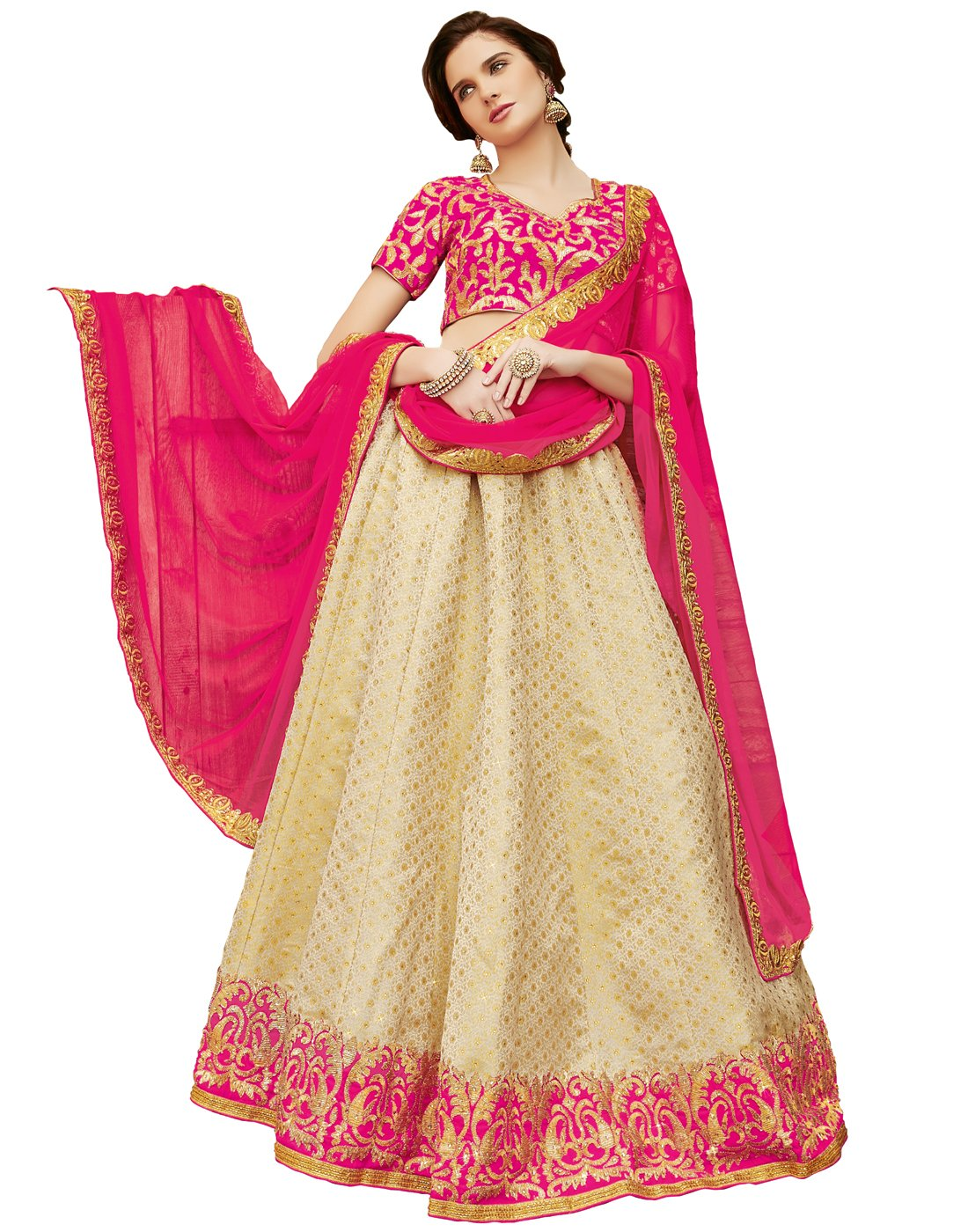 DesiButik's Wedding Wear Pleasant Beige Brocade Lehenga