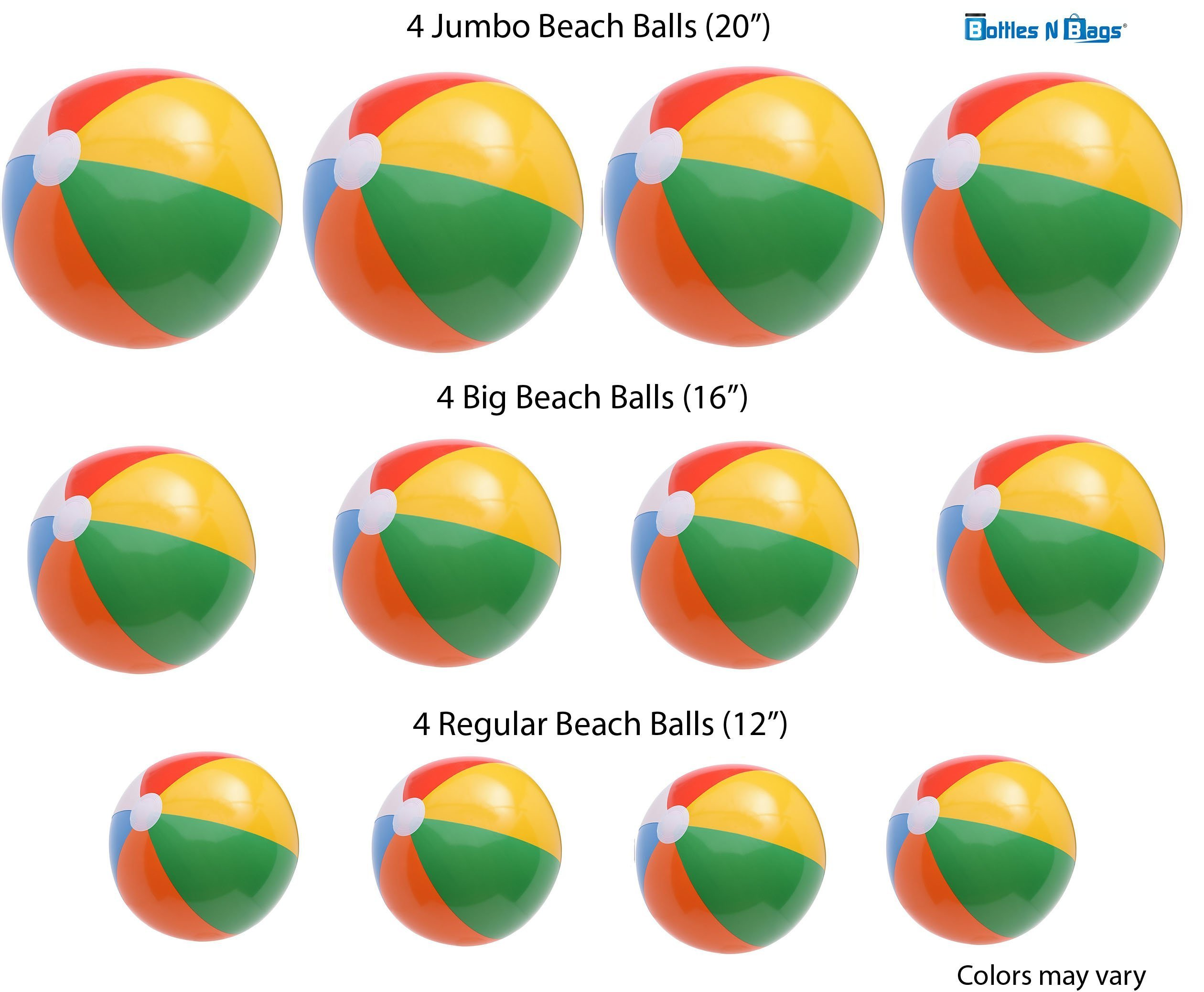 Bottles N Bags Beach Balls Mixed sizes, JUMBO 20'',LARGE BIG size 16'' and regular BIG size 12'', 4 of each, 12 pack Rainbow Inflatable, by by Bottles N Bags
