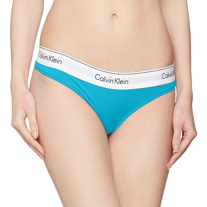 Calvin Klein Damen Slip String Modern Cotton Sportlich Blau (Perpetua)