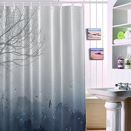 Grey Rainfall Shower Curtain Rainbrace 71x71 Inch Long Mildew Antibacterial Odorless
