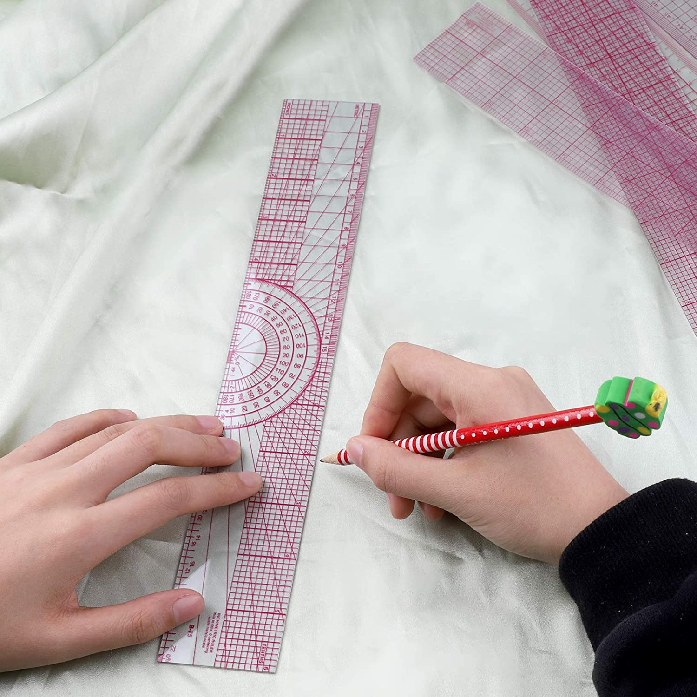 Lot de 6 r/ègles biseaut/ées transparentes professionnelles sur mesure pour couture,articles de couture