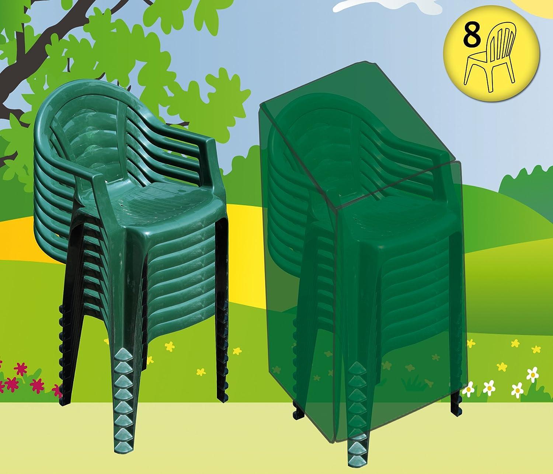 Funda cubre muebles de jardín impermeable Deluxe 8 sillas apilables. Poliéster verde.: Amazon.es: Jardín
