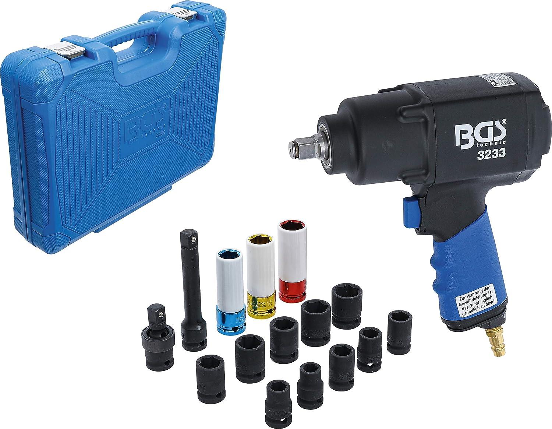 Bgs 5259 Druckluft Schlagschrauber Satz 16 Tlg 12 5 Mm 1 2 1355 Nm Inkl Kunststoff Koffer Set Baumarkt