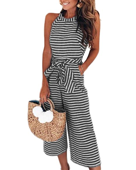 0476479b577 Amazon.com  LUBERLIN Womens Striped Waist Belted Jumpsuit Halter Sleeveless  Zipper Back Wide Leg Long Pants Jumpsuit Rompers with Pockets  Clothing