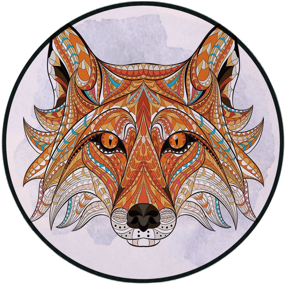 Printing Round Rug,Tribal,Primitive Red Fox Face with African Ornaments Totem Animal Design Mat Non-Slip Soft Entrance Mat Door Floor Rug Area Rug For Chair Living Room,Orange Amber
