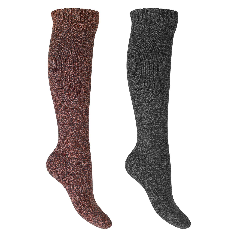 Footstar Warme Thermo-Frottee Kniestrü mpfe fü r Damen - elegante Farben - 2 Paar