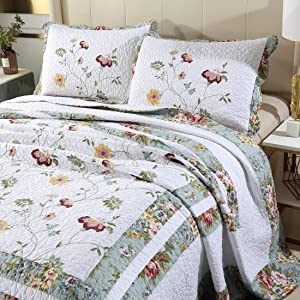 vctops 3-Piece Embroidered Floral Cotton Quilt Set Elegant Reversible Lightweight Bedspread Coverlet with 2 Pillow Shams (Floral, Full/Queen)