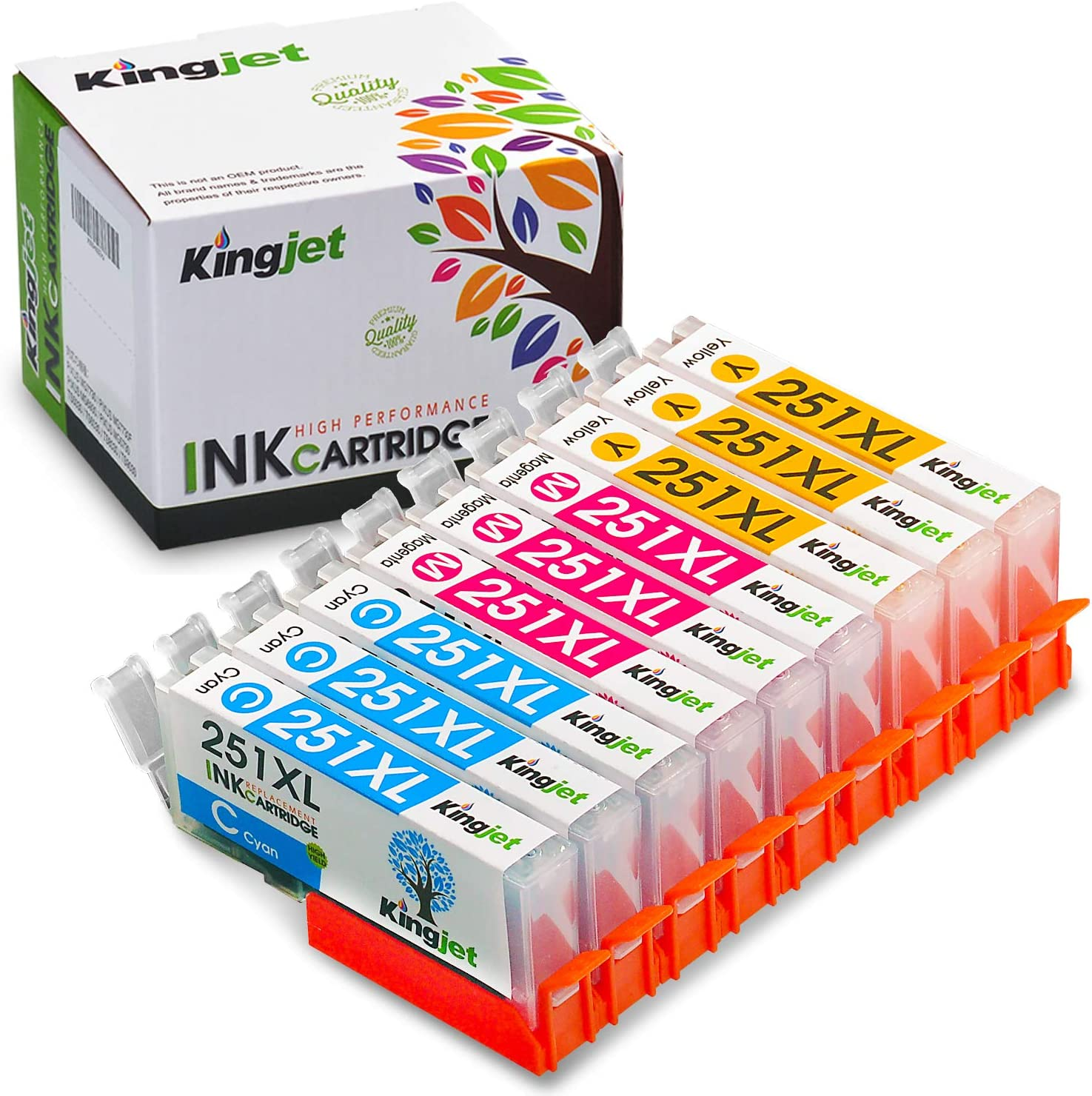Kingjet Compatible Ink Cartridge Replacement for CLI-251XL Work with PIXMA MX922 IP8720 MG5420 MG5422 MG5520 MG5522 MG5622 MG6620 MG7520 MX6320 IX6820 IP7220 Printers, 9Pack(3C 3M 3Y)