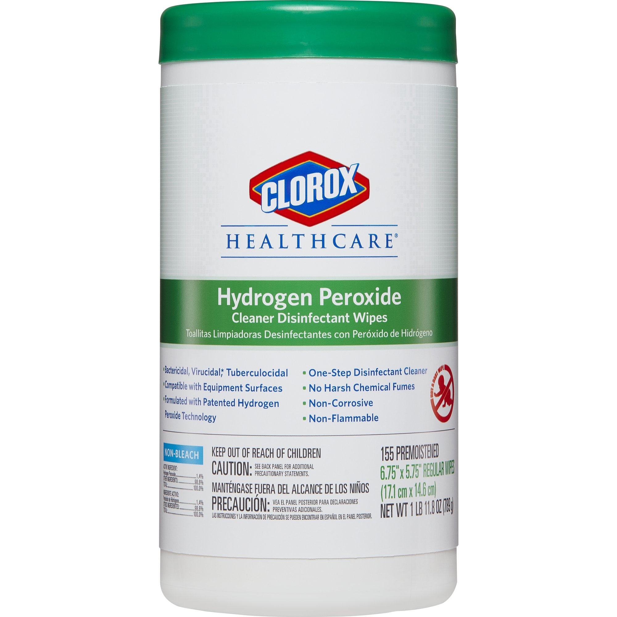 Clorox Healthcare Hydrogen Peroxide Cleaner Disinfectant Wipes, 155 Count Canister (Pack of 6) by Clorox (Image #2)