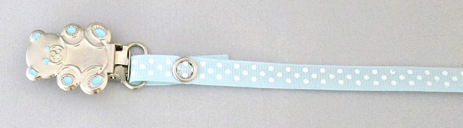 blue polka dots boys pacifier soother dummy holder clip