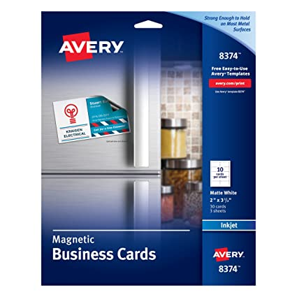 Amazon avery 8374 magnetic business cards 2 x 3 12 white avery 8374 magnetic business cards 2 x 3 12 white 10 accmission Choice Image