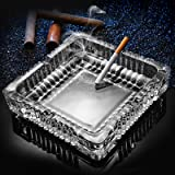 Ashtray ;Large Square Glass Ashtray for Cigarettes Cigars ;Big Ashtray for Outdoor Indoor Restaurant Decoration (7x7inch…