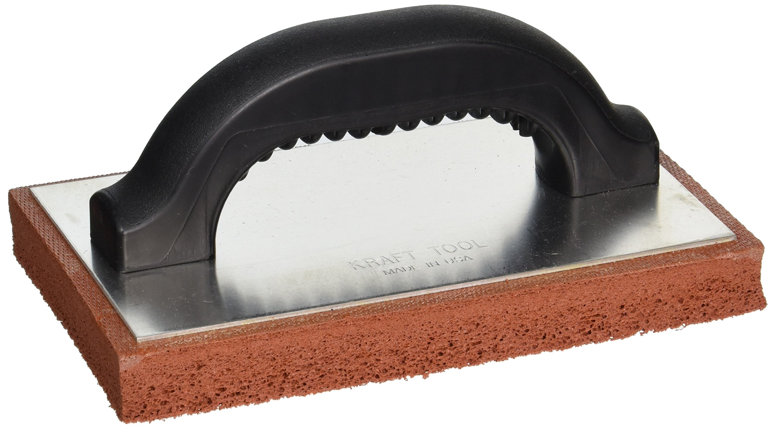 Kraft Tool PL383P Coarse Red Sponge Rubber Plaster Float with Plastic Handle, 8 x 5 x 1-Inch