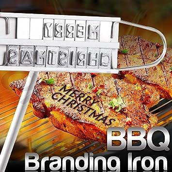 Herramienta marca plancha parrilla de barbacoa carne hamburguesa con 55 letras
