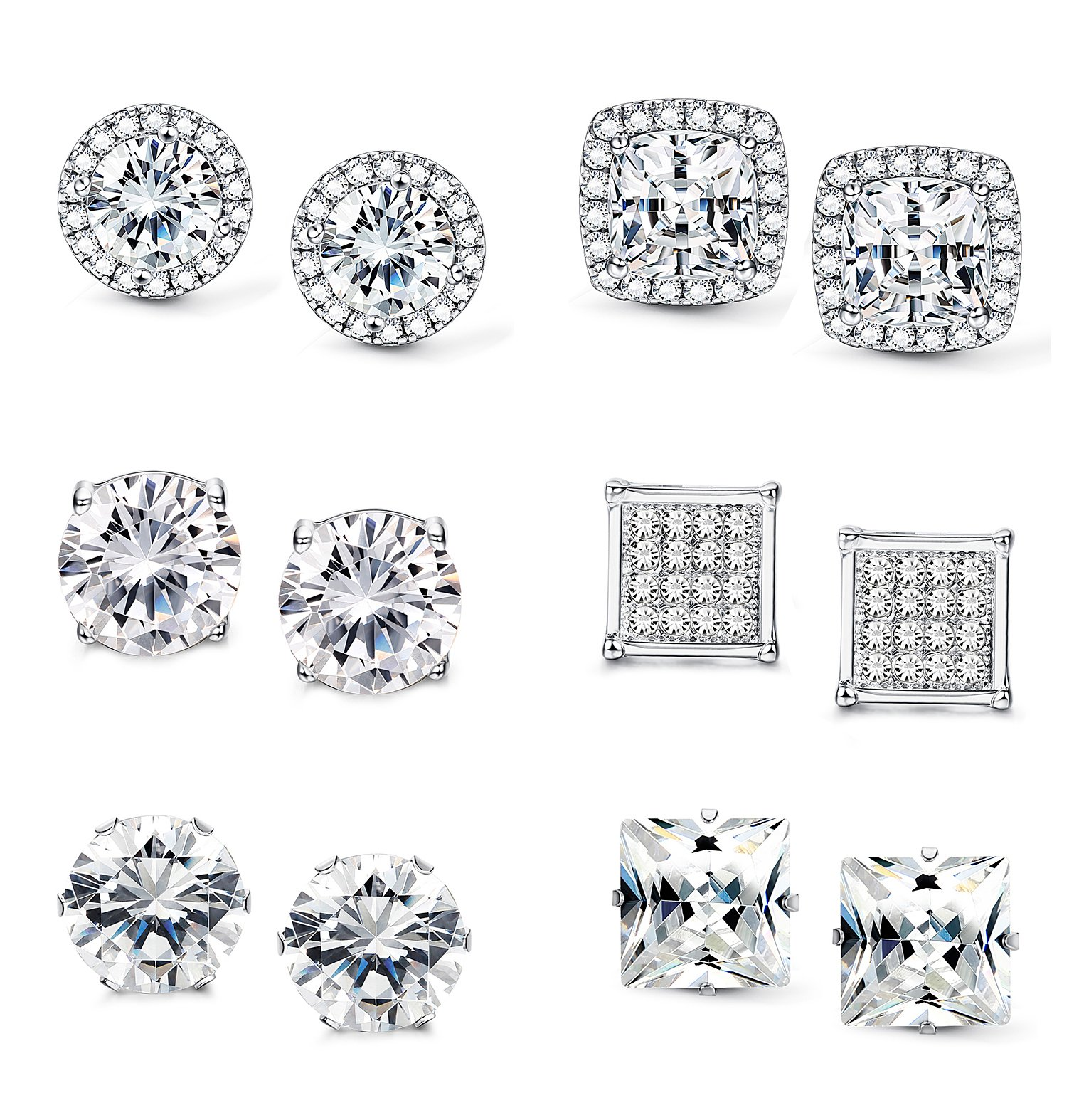 Jstyle Halo Cubic Zirconia Stud Earrings for Women Girls Clear CZ Round Square Stud Earrings Set Ear Jewelry by Jstyle