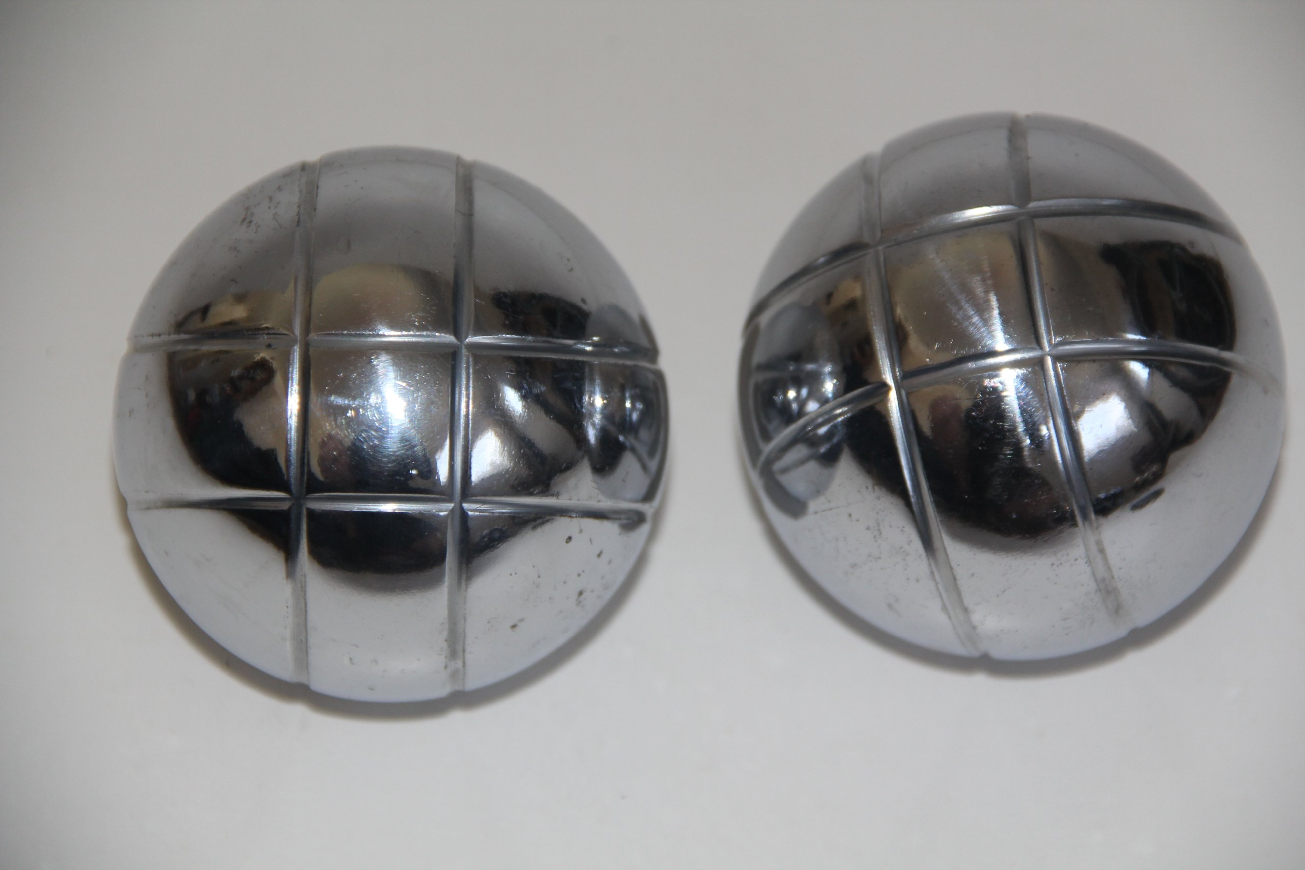 Replacement 73mm Metal Bocce/Petanque Silver Balls - pack of 2 with small criss cross pattern